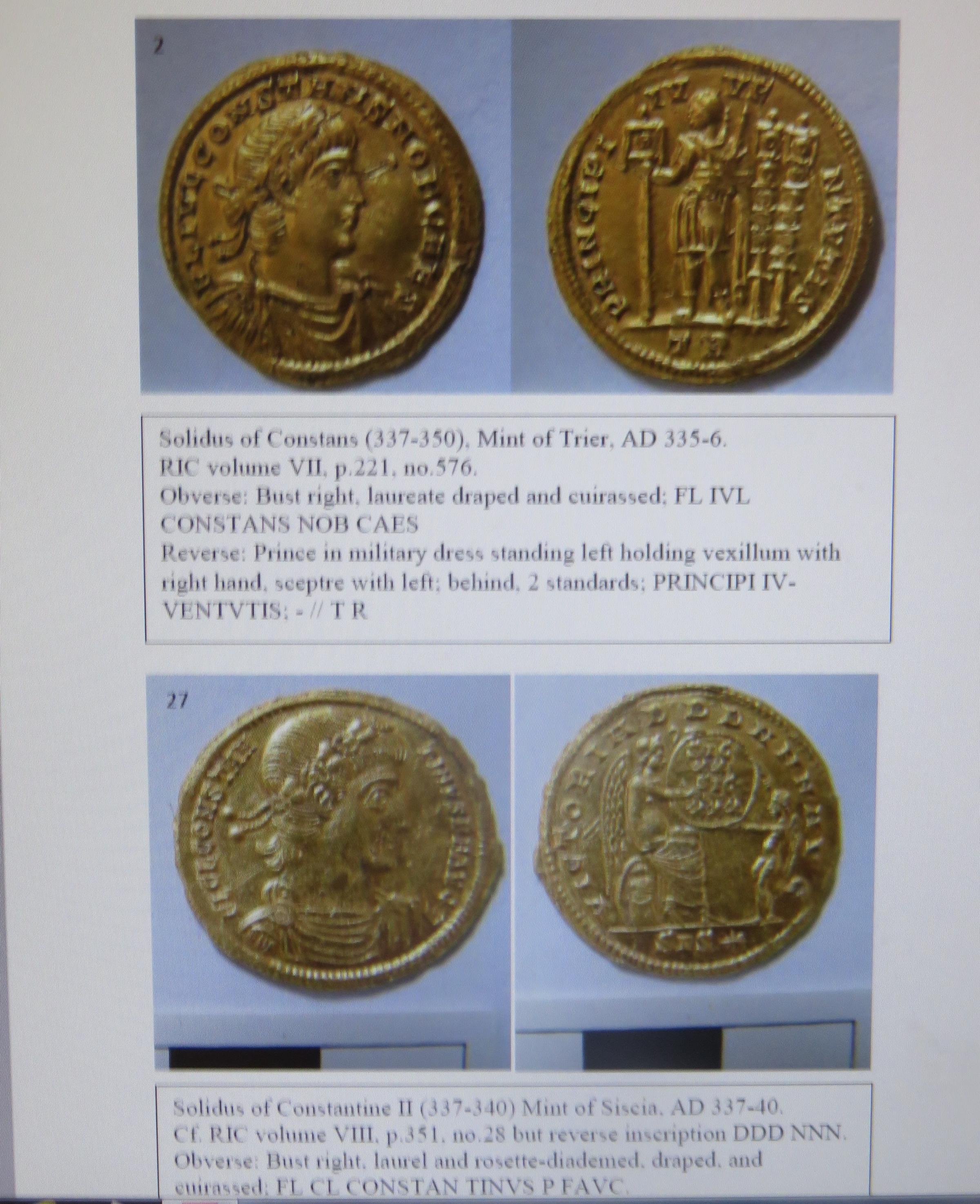 Two Roman coins found near Meonstoke and declared tresure on February 28 2019