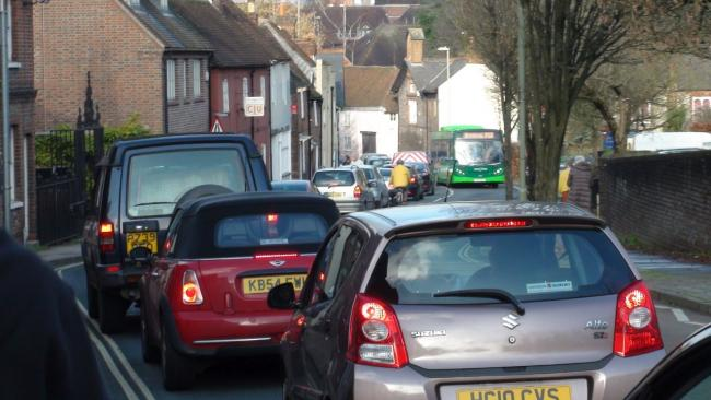 Congested, polluting traffic on Chesil Street in Winchester
