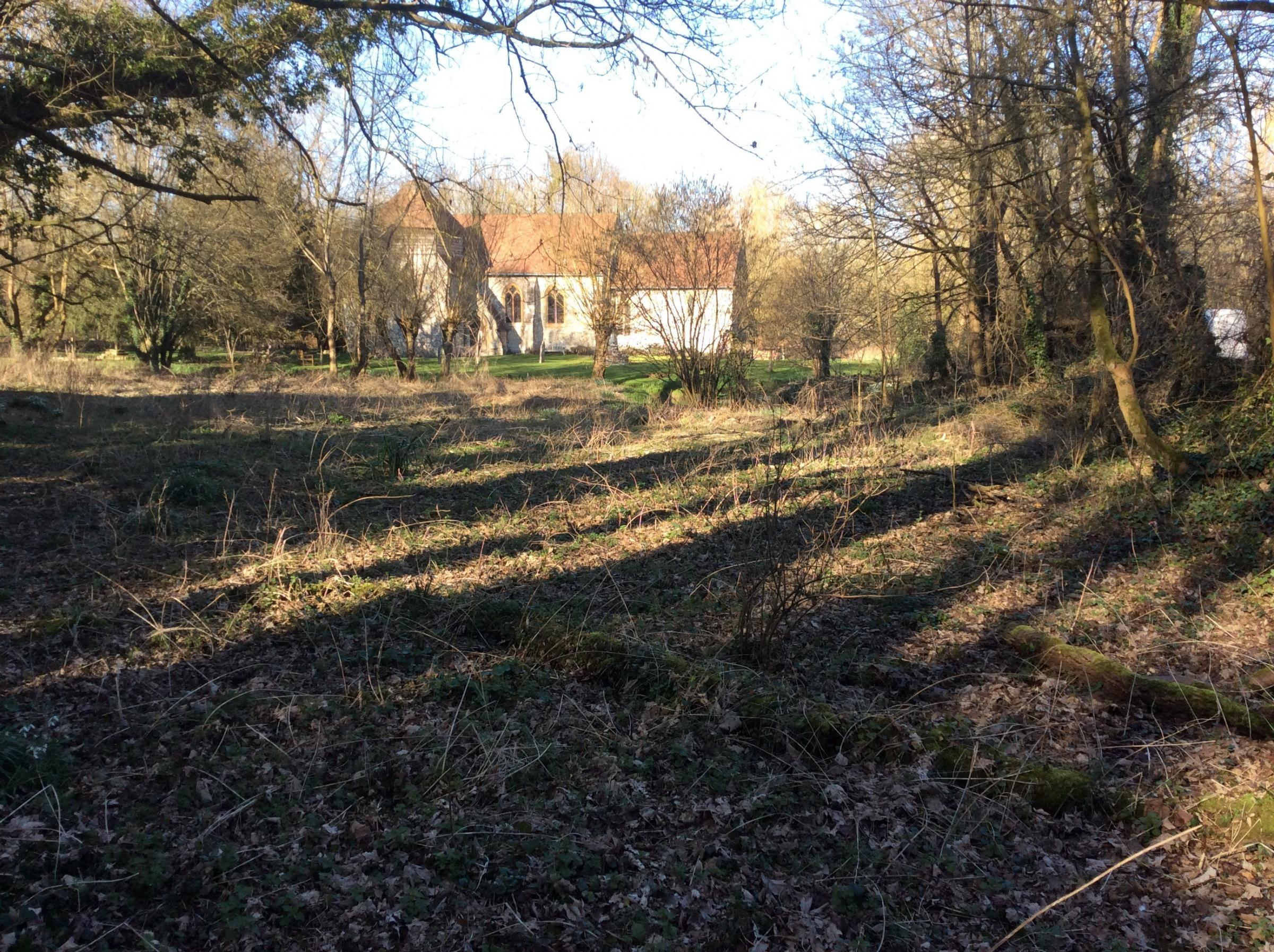 The land at St Swithun's Church, Headbourne Worthy, for which there are plans to build a new car park