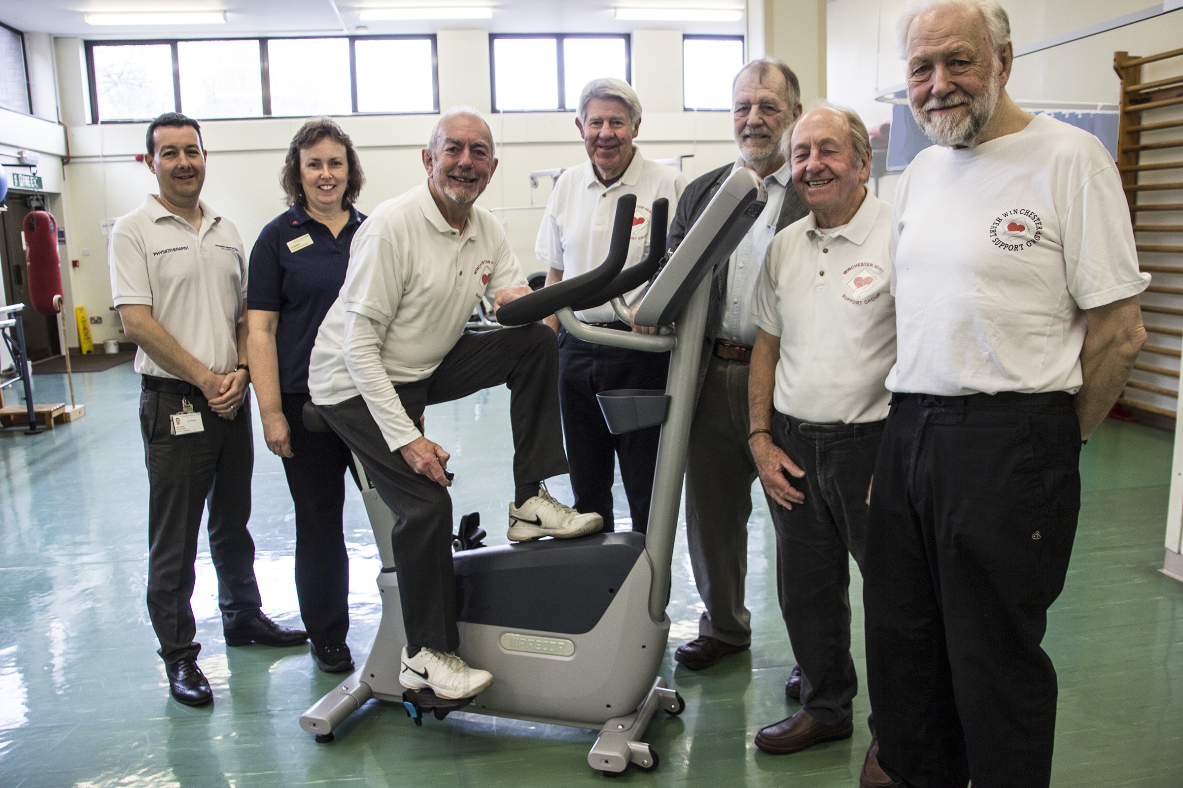 Winchester Heart Support Group present an exercise bike to The Royal Hampshire County Hospital from left: Mark Randall – RHCH Senior Physiotherapist Liz Britton – RHCH Cardiac Rehab Lead Jim Finch –WHSG Deputy Chairman Robin Pope –