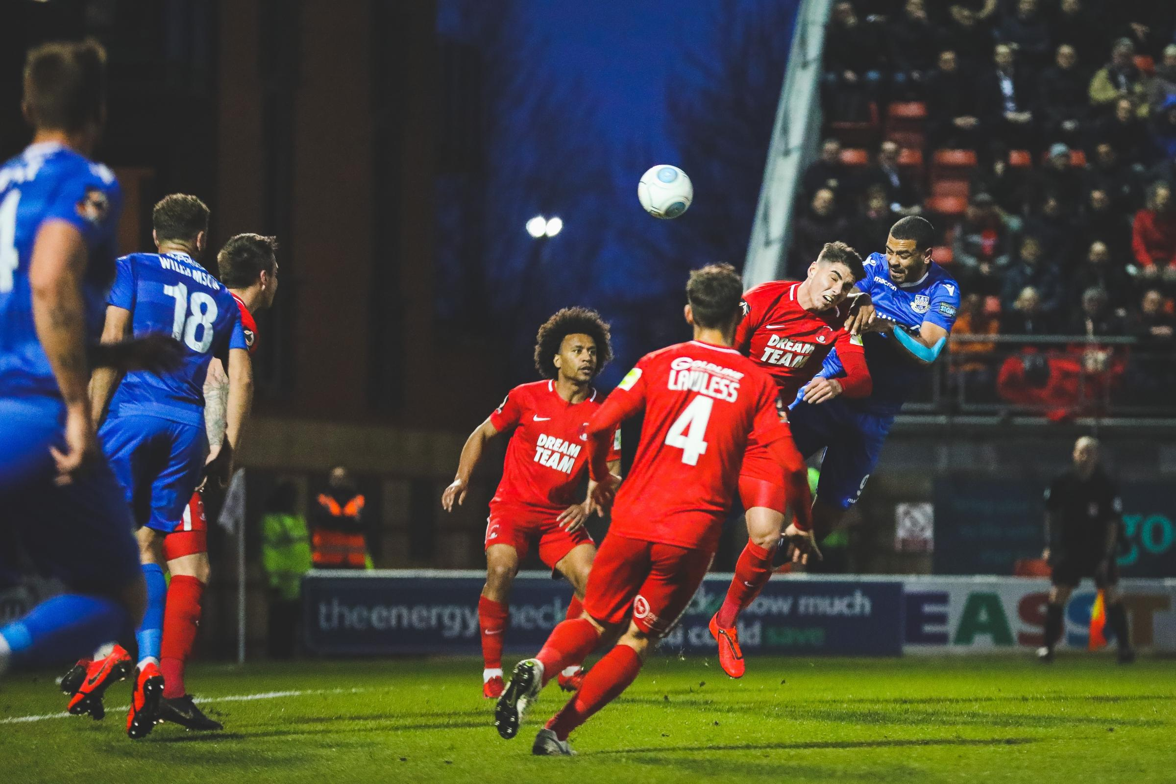 Paul McCallum heads in his second goal at Orient on Tuesday (photo: Tom Mulholland)