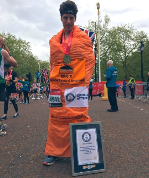 Ben Burfoot at the London Marathon after breaking the World Record