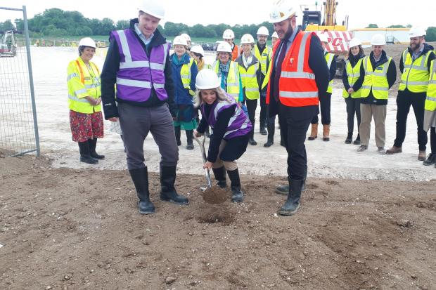 Groundbreaking at Barton Farm Academy. From left: Steve Brine MP, Joy Carter, Tom Fisher of Willmott Dixon