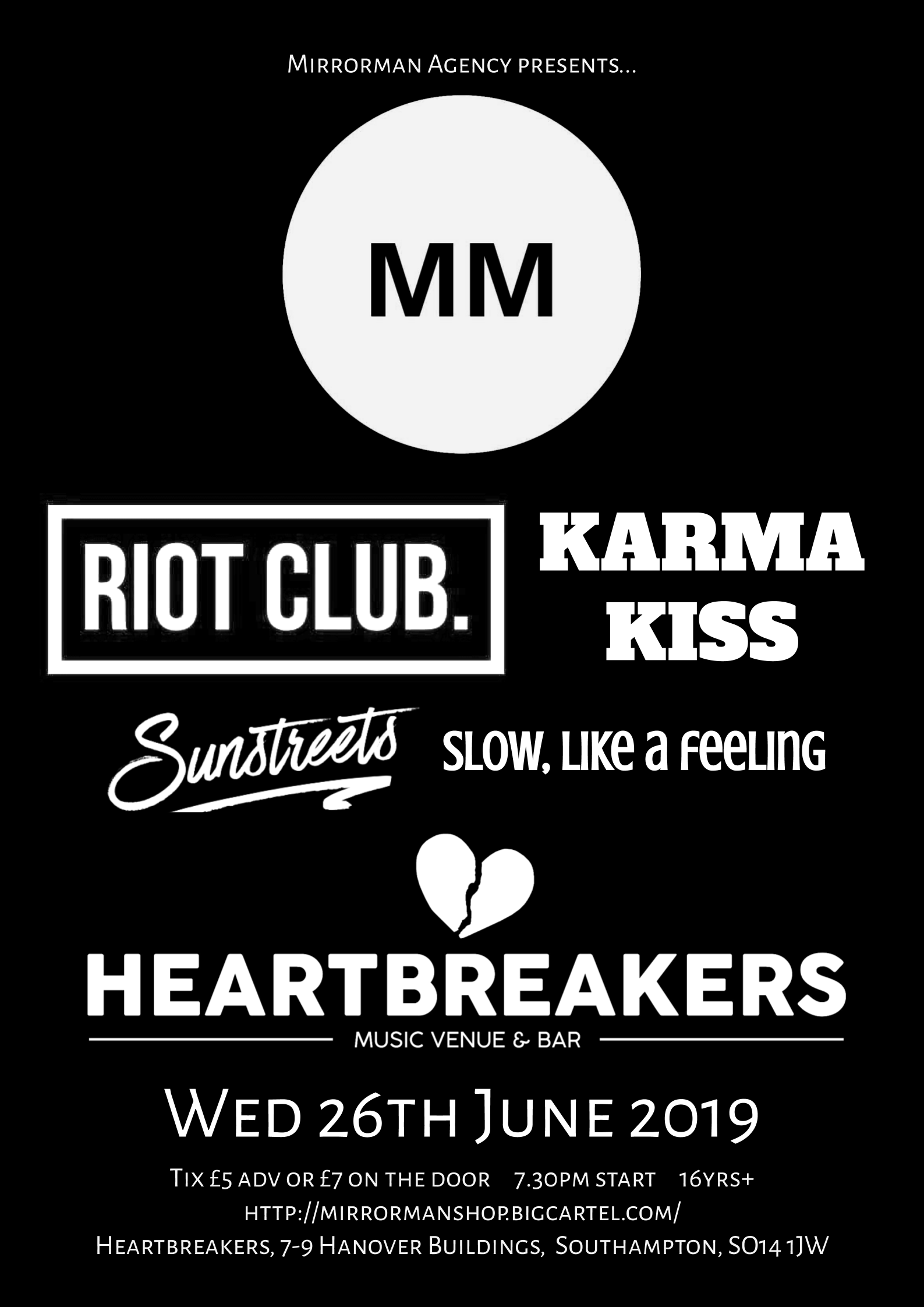 Mirrorman presents at Heartbreakers, Southampton (26.06.19)